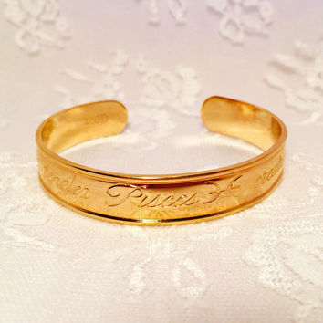 Vintage Avon Zodiac Pisces Adjustable Gold Cuff Bracelet Astrology Cuff