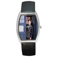 Doctor Who Tardis David Tennant Tenth Doctor Watch Gold Silver Black Leather Stainless Steel Choose Style Personalized Custom Made to Order