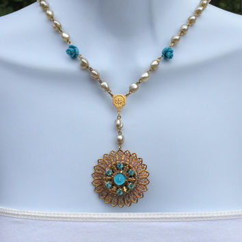 Beautiful Golden Blue Enamel and Rhinestone Mary Brooch Statement Necklace