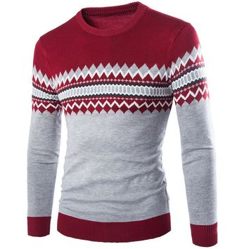 Free ship 2015 winter new casual male argyle pattern knitted sweater pullover o-neck fashion keep warm men's clothes M-XXL