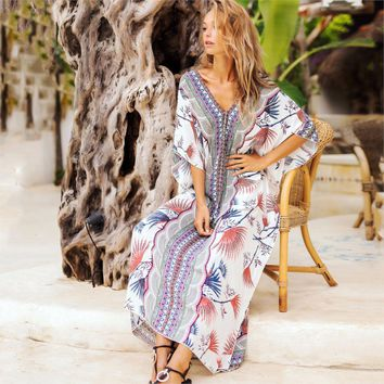 Women Dress Loose Bat Sleeve Robes Female Long Dresses Boho Floral Print Dress Casual Beach Dresses