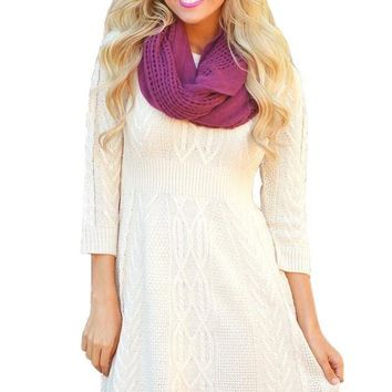 Fashion Fashion White 3/4 Sleeve Cable Knit Fitted Sweater Dress