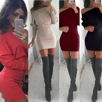 Winter Casual Strapless Batwing Sleeve Women's Fashion One Piece Dress [9415808012]