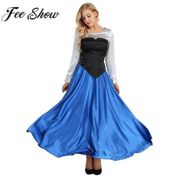 Cool Feeshow The Little Mermaid Princess Cosplay Costume Women Adult Cosplay Costume Princess Party Dress Ball Gown Role Play OutfitAT_93_12
