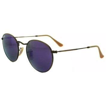 Gotopfashion Ray-Ban Sunglasses Round Metal 3447 167/1M Bronze Copper Violet Mirror Medium