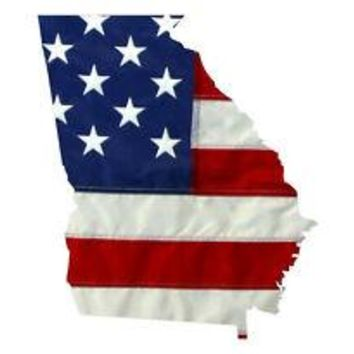 State of Georgia Realistic American Flag Window Decal - Various Sizes