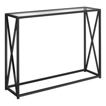 "Accent Table - 42""L / Black Nickel Metal / Tempered Glass"