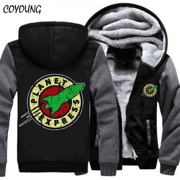 Free Shipping USA size 5XL Hoody Men Planet Express Thicken Fleece Hoodies Zipper Casual Coat Custom made Clothing Jacket