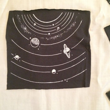 Solar System patch, 2nd edition, coal grey cotton jersey sew-on back patch