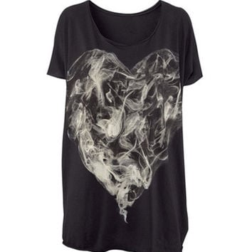 Black Smoke Printed Short Sleeve Tee