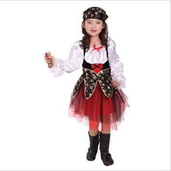 Halloween Golden Pirate Costumes Cosplay Girls Kids Children Party Costume for children Dress