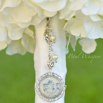 Bridal Bouquet Memory Charm - Wedding Memorial Photo Charm - Bouquet Photo Charm - Bridal Gift - Bridal Photo Pendant - Bouquet Pendant