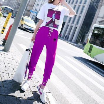 """Adidas"" Women Casual Retro Letter Character Pattern Print Short Sleeve T-shirt Trousers Set Two-Piece Sportswear"