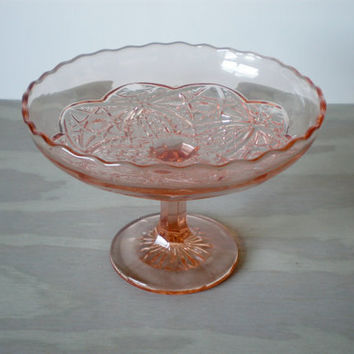 Pink Glass Pedestal Depression Glass Bowl by HoundDogDigs on Etsy