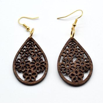 Floral Carved Hollow Wooden Earrings