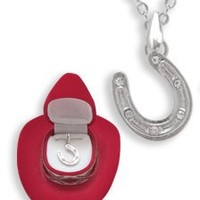 Western Crystal HORSESHOE NECKLACE in Cowboy Hat Gift Box