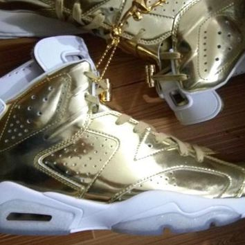 Air Jordan Retro 6 Metallic Gold Air 6s With Gold JUMPMAN and Box Top Quality man bask