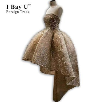 I Bay U Pearl Full Beading Luxury Short Front Long Back Party Homecoming Cocktail Dress 2017 Champagne High Low Prom Dresses