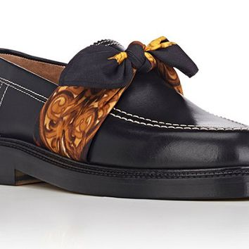 Indie Designs Tie-Strap Leather Loafers