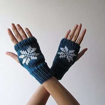 Hand Knit Fingerless Gloves in Petroleum Green - Embroidered Snowflake - Seamless - Wool Blend