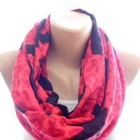 Red infinity scarf, loop scarf, chevron scarf, scarves for women, cozy scarf, trendy scarf