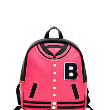 KITCH LETTERMAN JACKET BACKPACK: Betsey Johnson