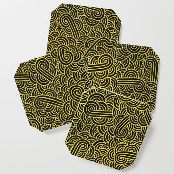 Black and faux gold swirls doodles Coaster by savousepate