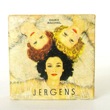 Vintage Jergens Powder Dark Rachel Original Gorgeous Box Unused Vanity Boudoir Dressing Table Toilette
