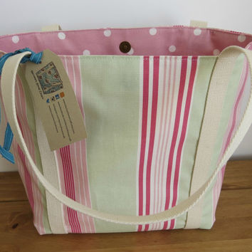 Striped tote bag, beach bag, knitting bag or market bag. This is one of our popular Emily bags.