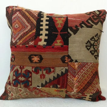 Large Handwoven Turkish Kilim Pillow Cover, MODERN Bohemian Home Decor,  Decorative Kilim Pillow, Vintage Pillow Throw 20 inch