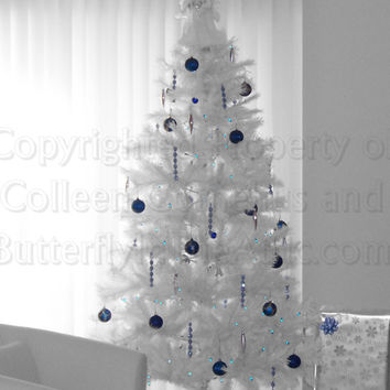 A White Christmas Tree with Deep Cobalt Blue Contrast on Black & White Background Photography Wall hanging Wall Art Fine Art