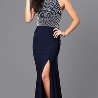 Long Navy Blue Prom Dress with White Beaded Bodice