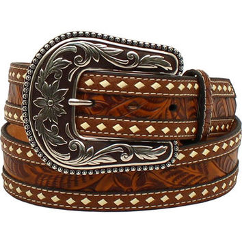 Blazin Roxx Women's Tooled Buck Stitching Rope Belt