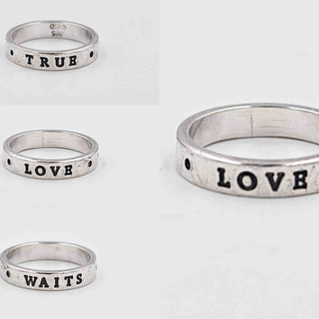 Vintage Bob Siemon Sterling Silver Band Ring, True Love Waits, Sentiment Ring, Inspirational, Promise Ring, Size 6, Lovely! #c154