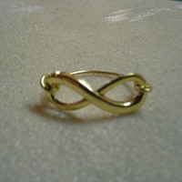 Antiqued Golden Infinity Ring Sizes 6-14  Copper and Metal