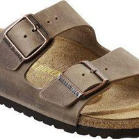 Arizona Sandal in Oiled Tobacco Brown leather with Soft Footbed by Birkenstock