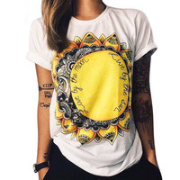 Round Neck Short Sleeve Printed T-Shirts