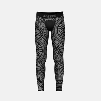 Oceanic Warrior Gray Tights for Kids