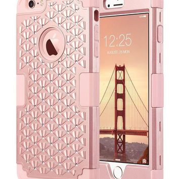 Iphone 6 Plus Case Iphone 6s Plus Case Glitter Ulak 3d Bling Rhinestone Heavy Duty Shockproof Hybrid Hard Pc Soft Silicone Rubber Protective Case For Iphone 6 Plus / Iphone 6s Plus 5.5inch Rose Gold