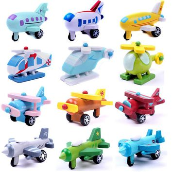 Kids Boys girl wooden mini airplane minicar models toys kit Baby education Vehicles multicolor toy for children 12pcs PT030