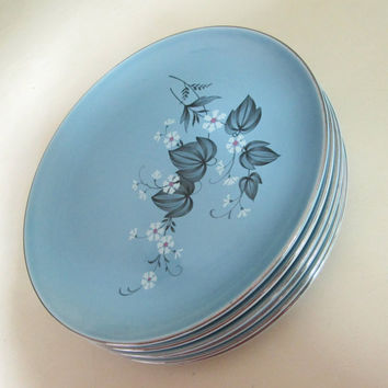 Service for 6 Taylor Smith Taylor Dinner Plates / Blue Mist 9 Inch Dish Set