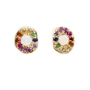 Opal Rainbow Disc Studs - Earrings - Catbird