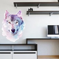 kcik516 Full Color Wall decal white wolf animal forest living room bedroom