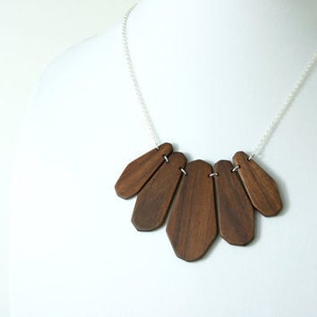 Large Natural Geometric Bib Necklace in Walnut