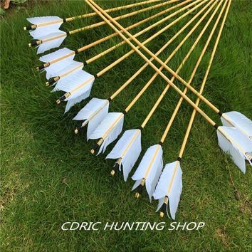 12pcs wooden arrow, turkey feather, traditional bow and arrow Hunter