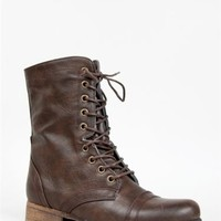 NEW MADDEN GIRL GAMER Women Hot Lace Up Vintage Combat Mid Calf Boots sz Brown