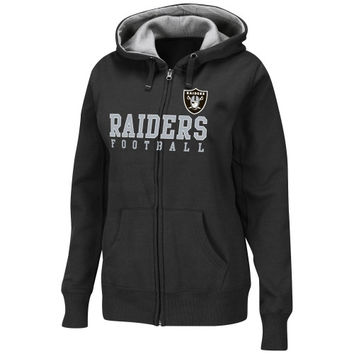 Oakland Raiders Womens Deep Post III Full Zip Hoodie - Black