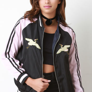 Reversible Embroidered Stripe Sleeve Bomber Jacket