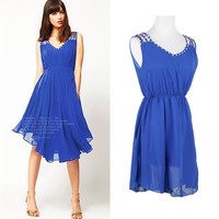 Blue Sleeveless V-Neck with Beaded Straps Pleated Chiffon Mini Dress