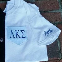 Monogrammed Big/Little Seersucker Pocket Tee- Sororites - Several colors to choose from